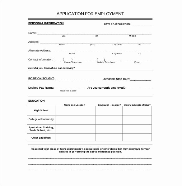 Scholarship Application Template Word Inspirational 15 Employment Application Templates – Free Sample