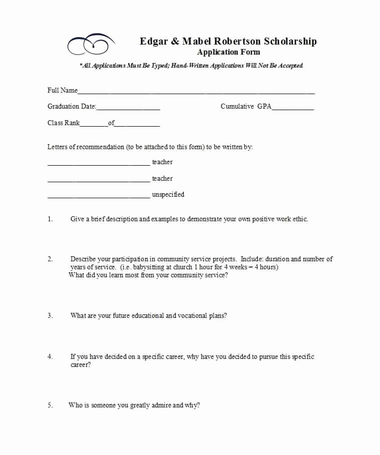 Scholarship Application Template Word Lovely 50 Free Scholarship Application Templates & forms