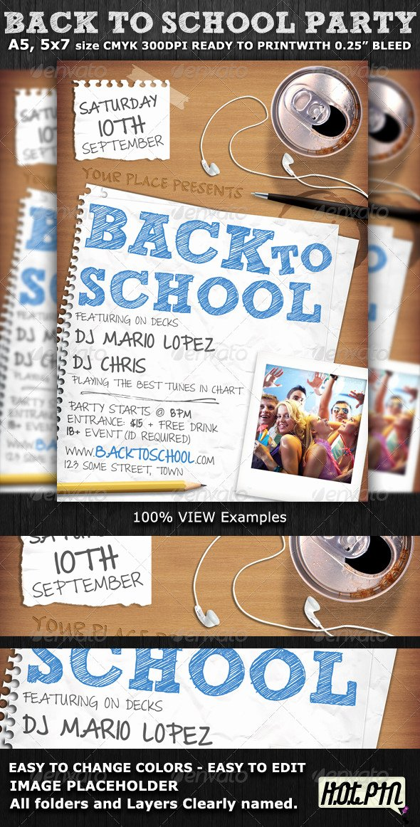 School Club Flyer Template Beautiful Back to School Party Flyer Template by Hotpin