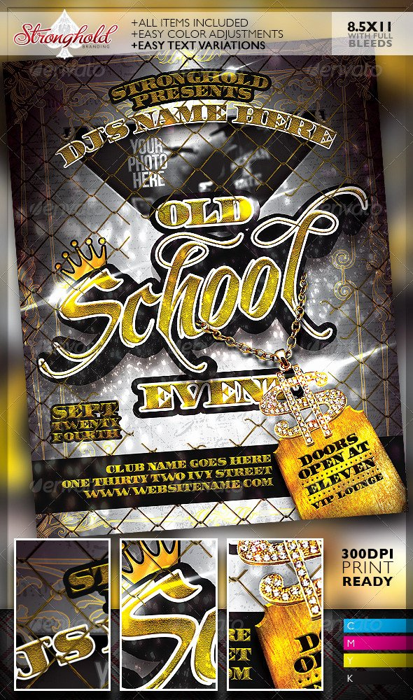 School Club Flyer Template Beautiful Old School Gold event Flyer Template by Stronghold