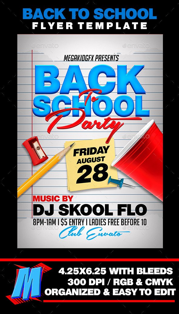 School Club Flyer Template Elegant Back to School Party Flyer Template by Megakidgfx