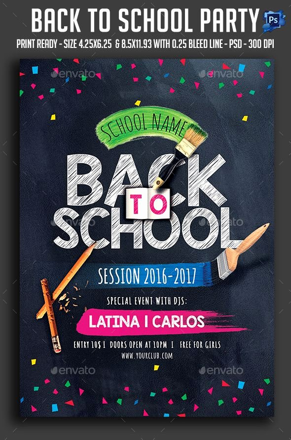 School Club Flyer Template Fresh Back to School Party Flyer