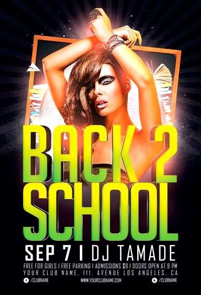 School Club Flyer Template New Free Back 2 School Party Flyer Template Psd Download