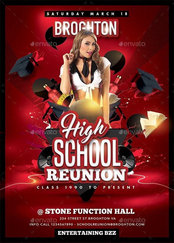 School Club Flyer Template Unique High School Reunion School Club Flyer Template Dni