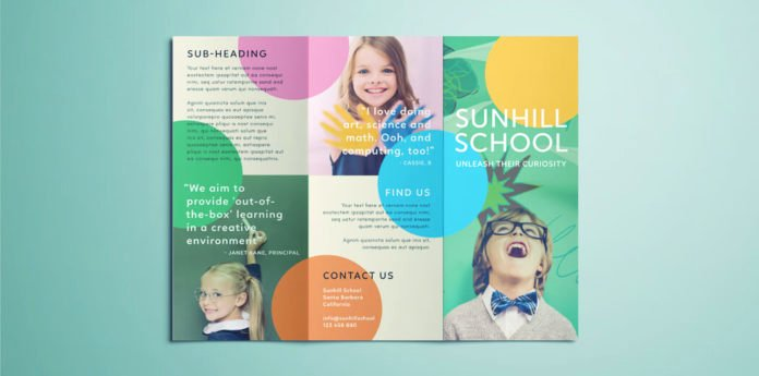 School Flyer Template Free Awesome Colorful School Brochure Tri Fold Template