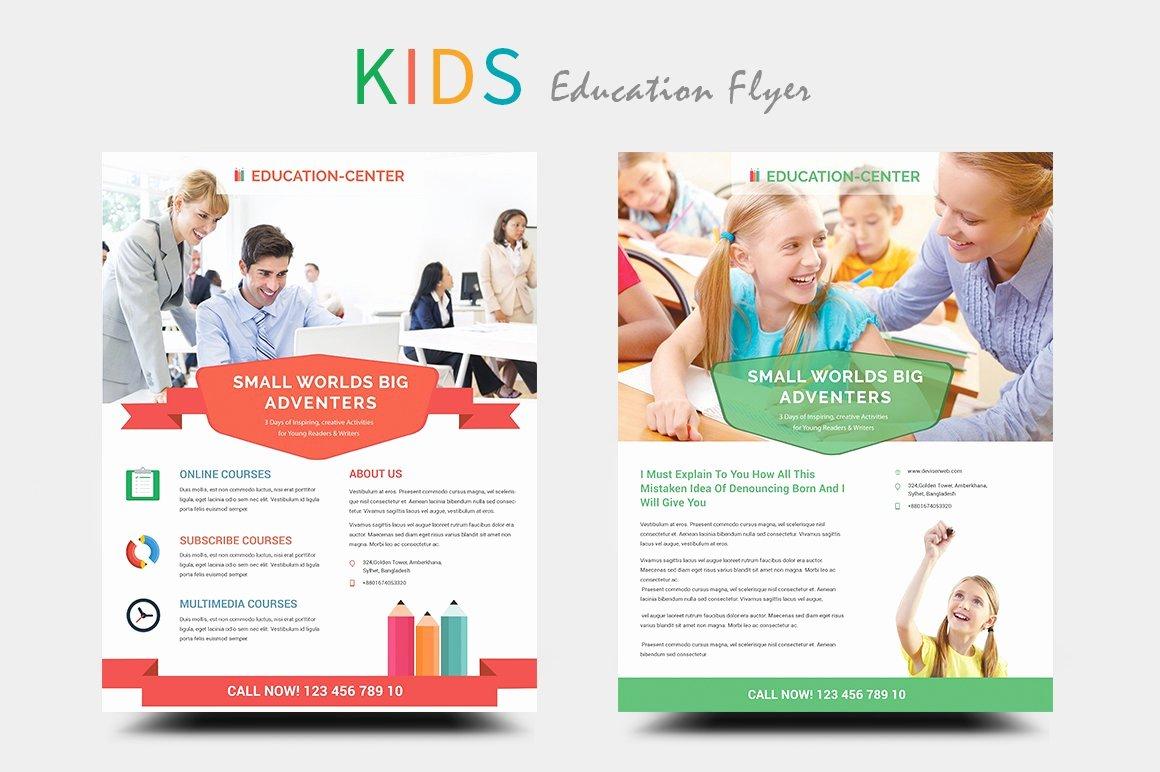 School Flyer Template Free Inspirational Kids Education School Flyers Flyer Templates Creative