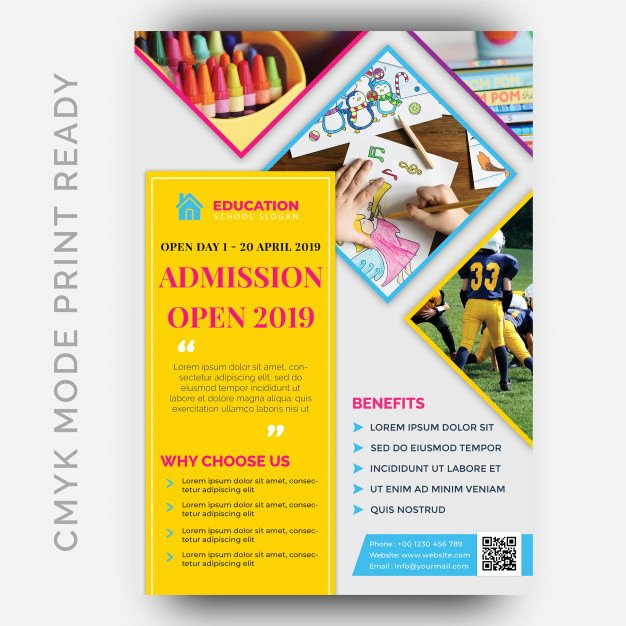 School Flyer Template Free New Admission School Psd Advertising Brochure