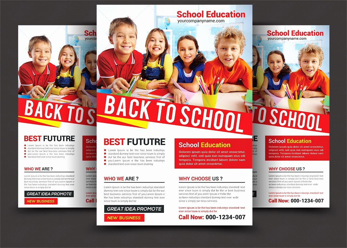 School Flyer Template Free Unique Back to School Flyer Flyer Templates Creative Market