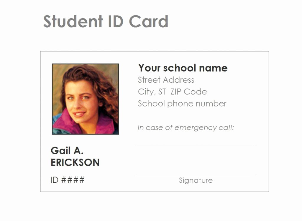 School Id Card Template Awesome Student Identification Card Template Free