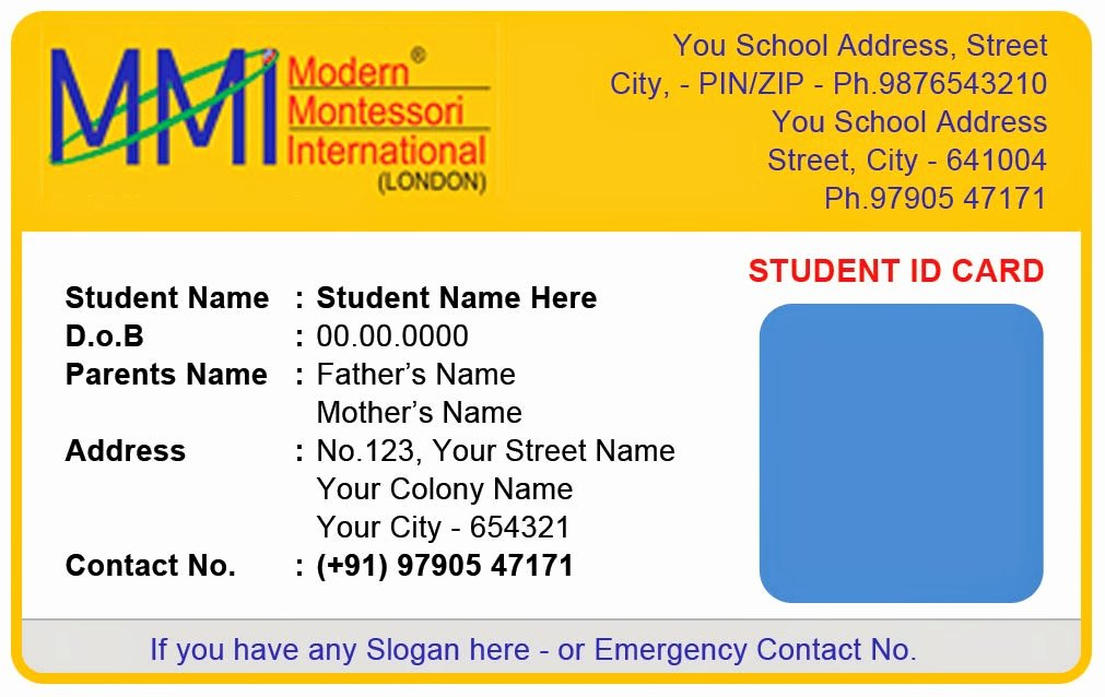 School Id Card Template Elegant Template Galleries Montessory Play School Id Card Templates