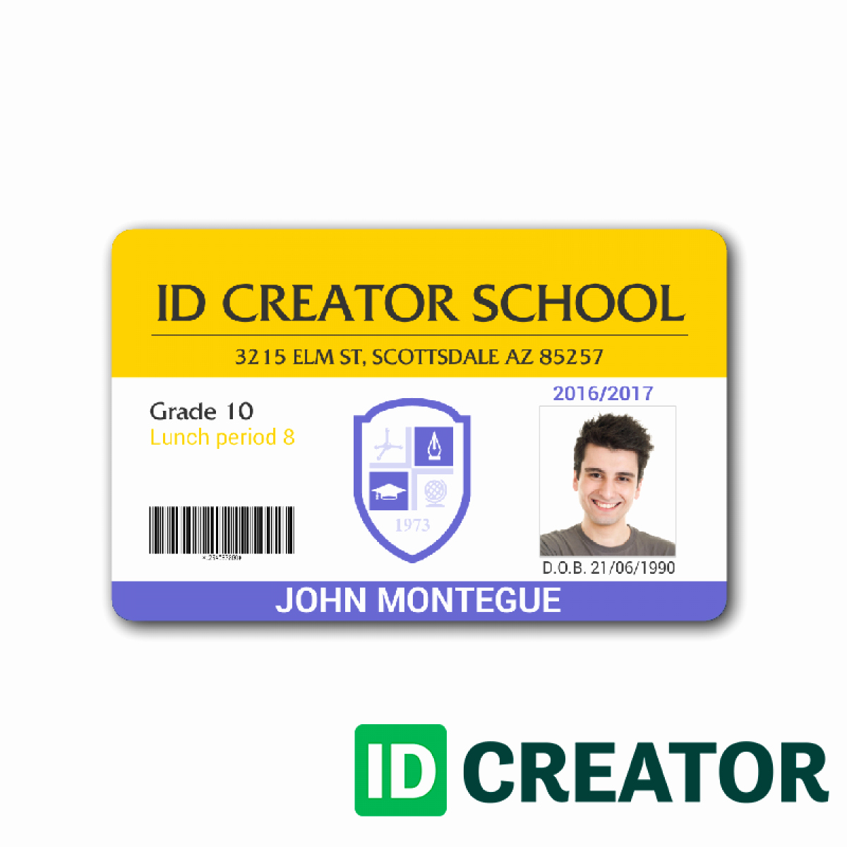 School Id Card Template Luxury Student Id Template