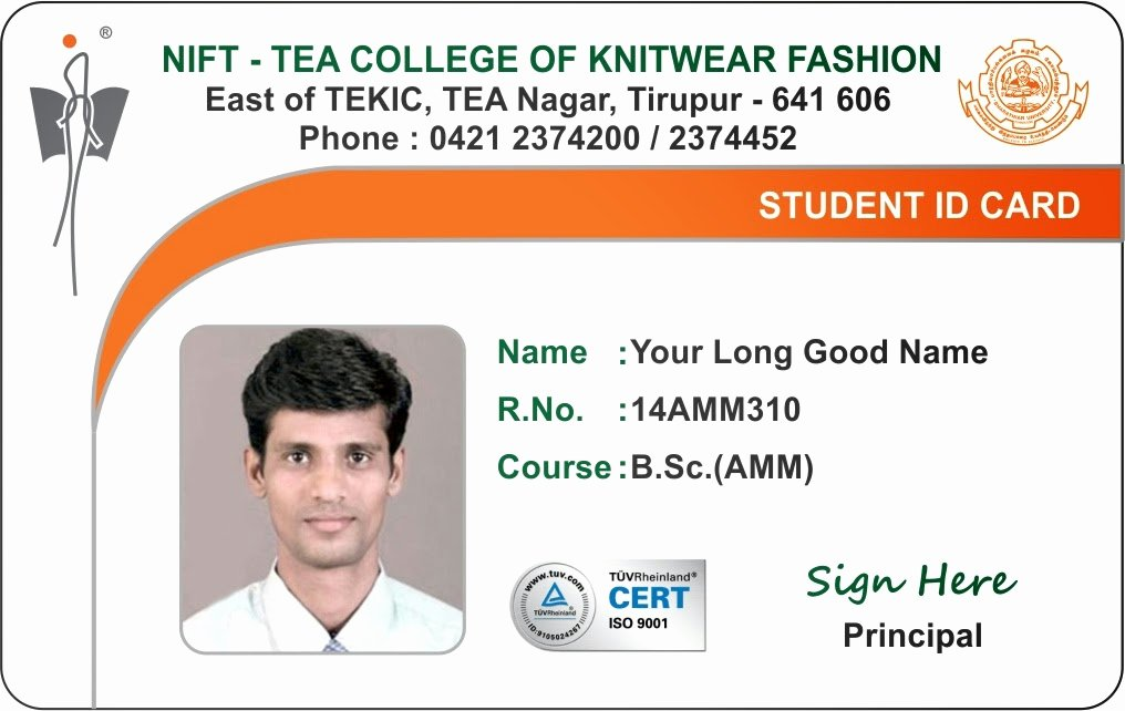 School Id Card Template Unique Id Card Coimbatore Ph College Student
