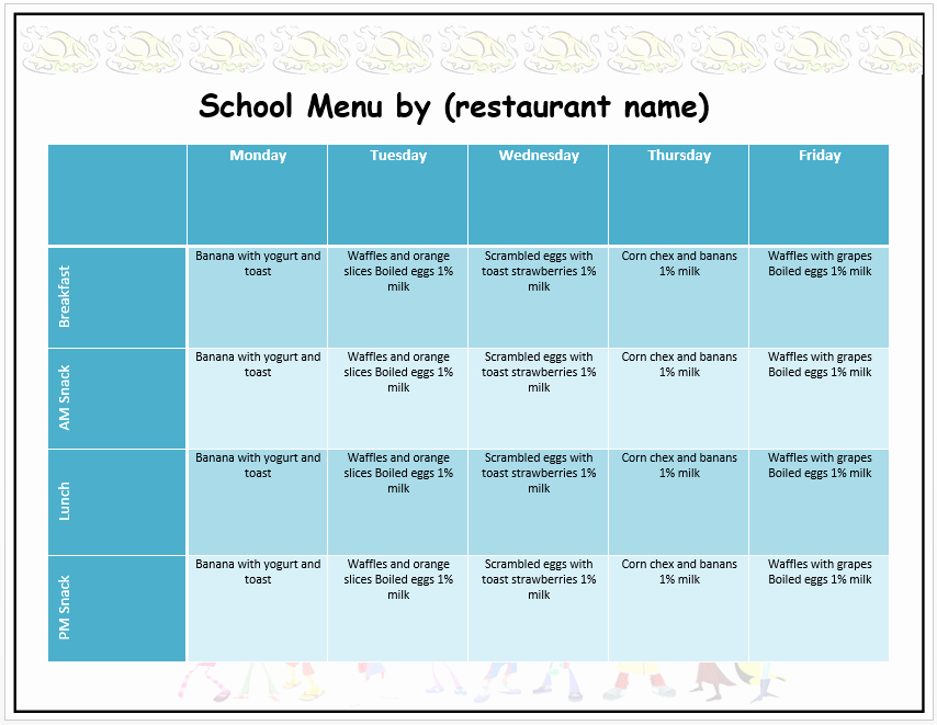 School Lunch Menu Template Awesome Weekly School Menu Template Word Templates