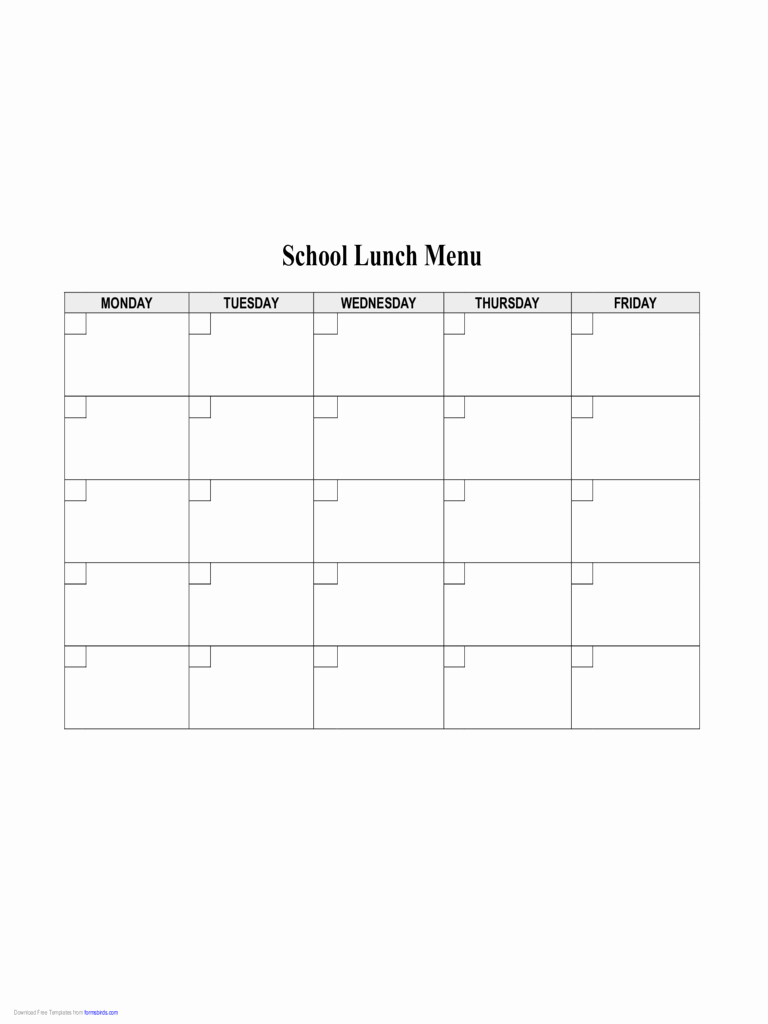 School Lunch Menu Template Best Of 2019 Food Menu Template Fillable Printable Pdf & forms