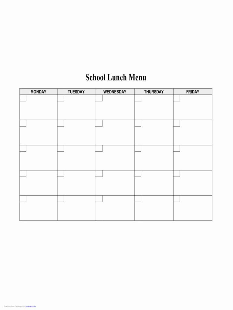School Lunch Menu Template Best Of 2019 Food Menu Template Fillable Printable Pdf & forms