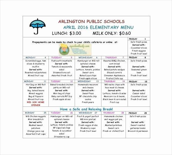 School Lunch Menu Template Elegant School Lunch Menu Template Invitation Template