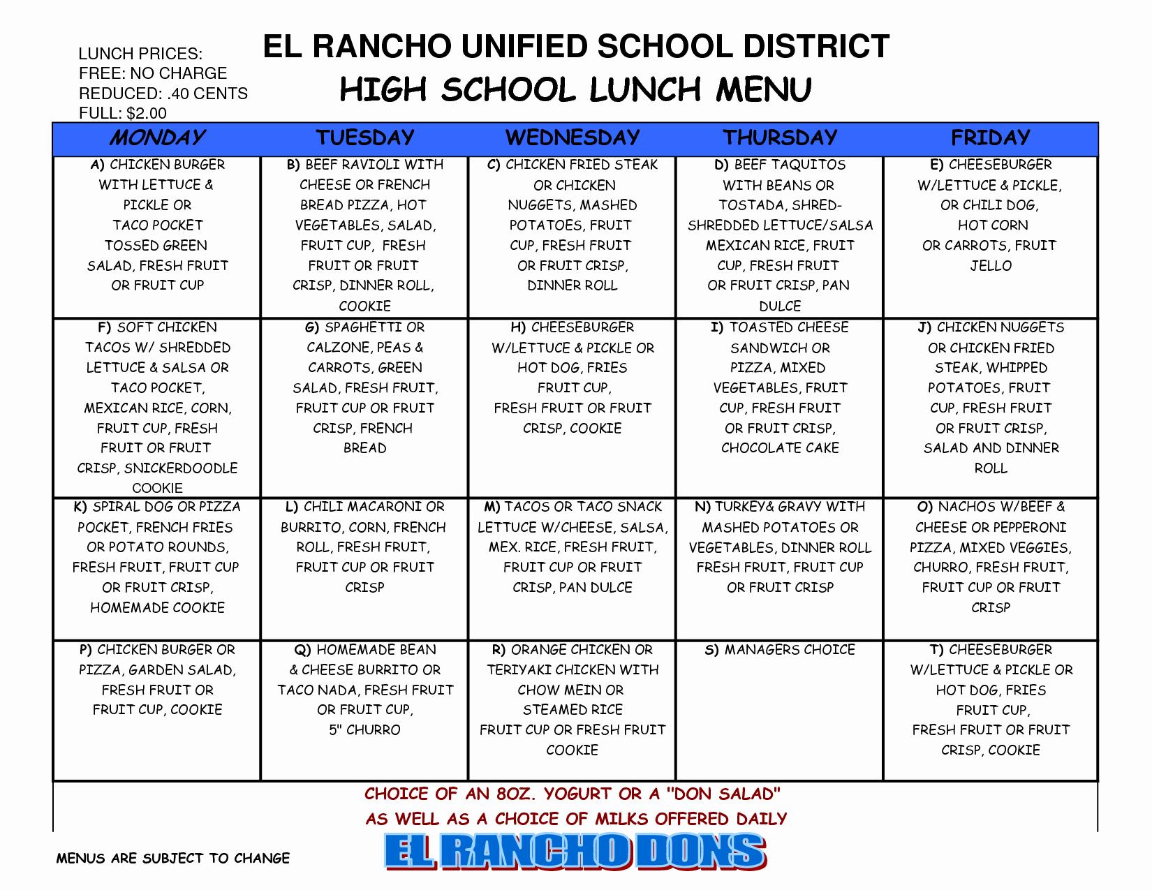 School Lunch Menu Template Fresh 8 Best Of School Lunch Calendar Templates School