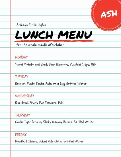 School Lunch Menu Template Fresh Customize 215 Lunch Menu Templates Online Canva