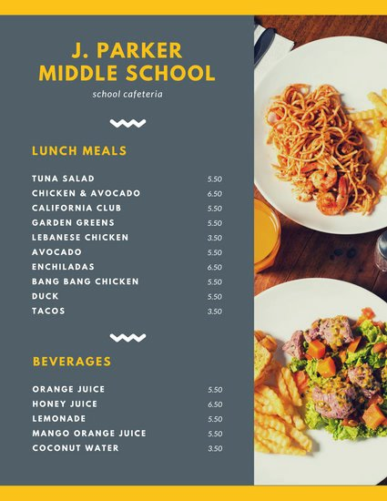 School Lunch Menu Template Fresh Customize 215 Lunch Menu Templates Online Canva