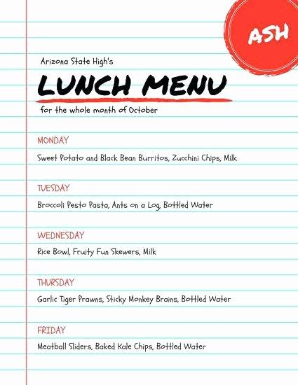 School Lunch Menu Template Inspirational Printable School Lunch Menu Template – Puntogov