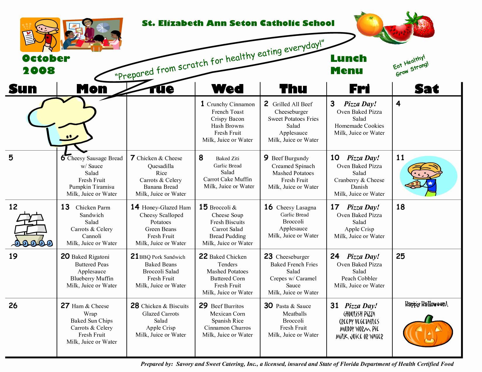School Lunch Menu Template Luxury 8 Best Of School Lunch Calendar Templates School
