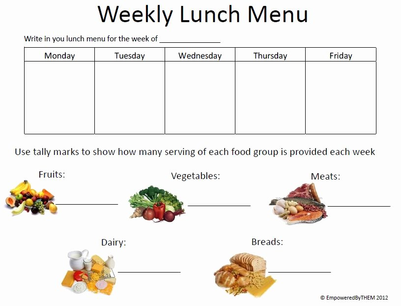 School Lunch Menu Template Luxury Empowered by them June 2012