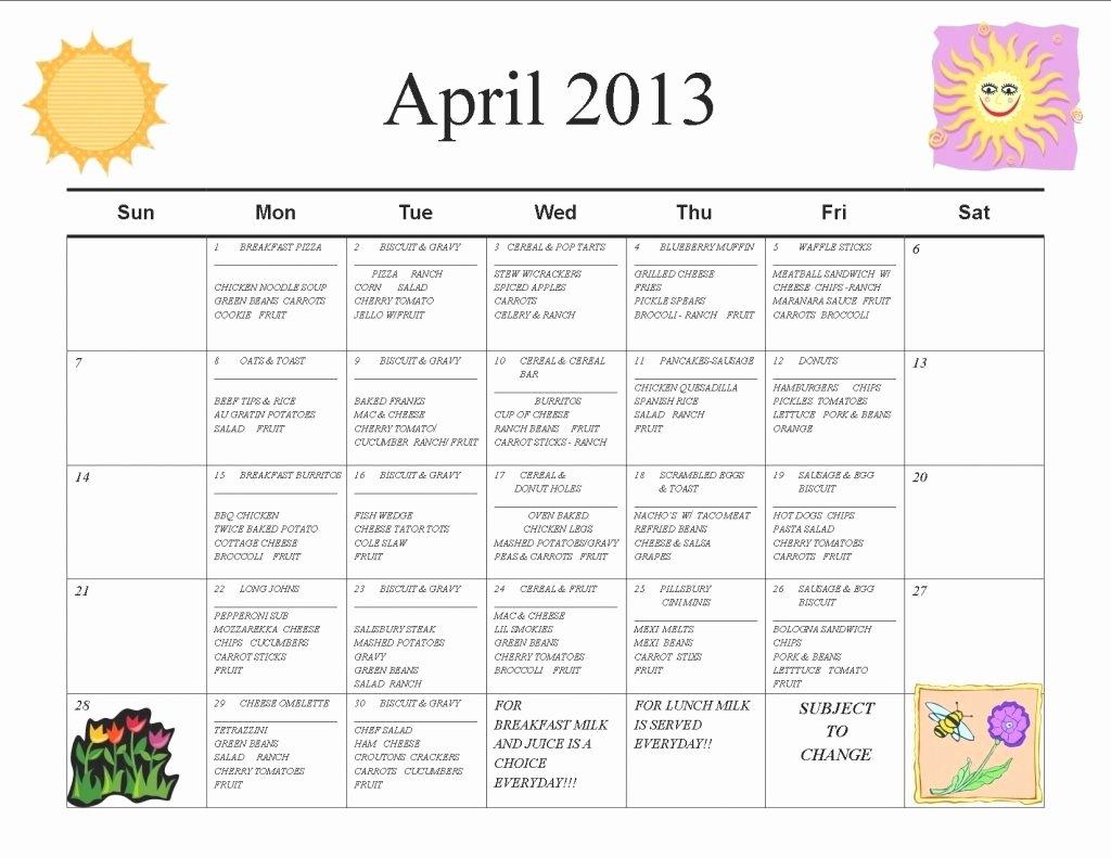 School Lunch Menu Template New School Lunch Calendar Template