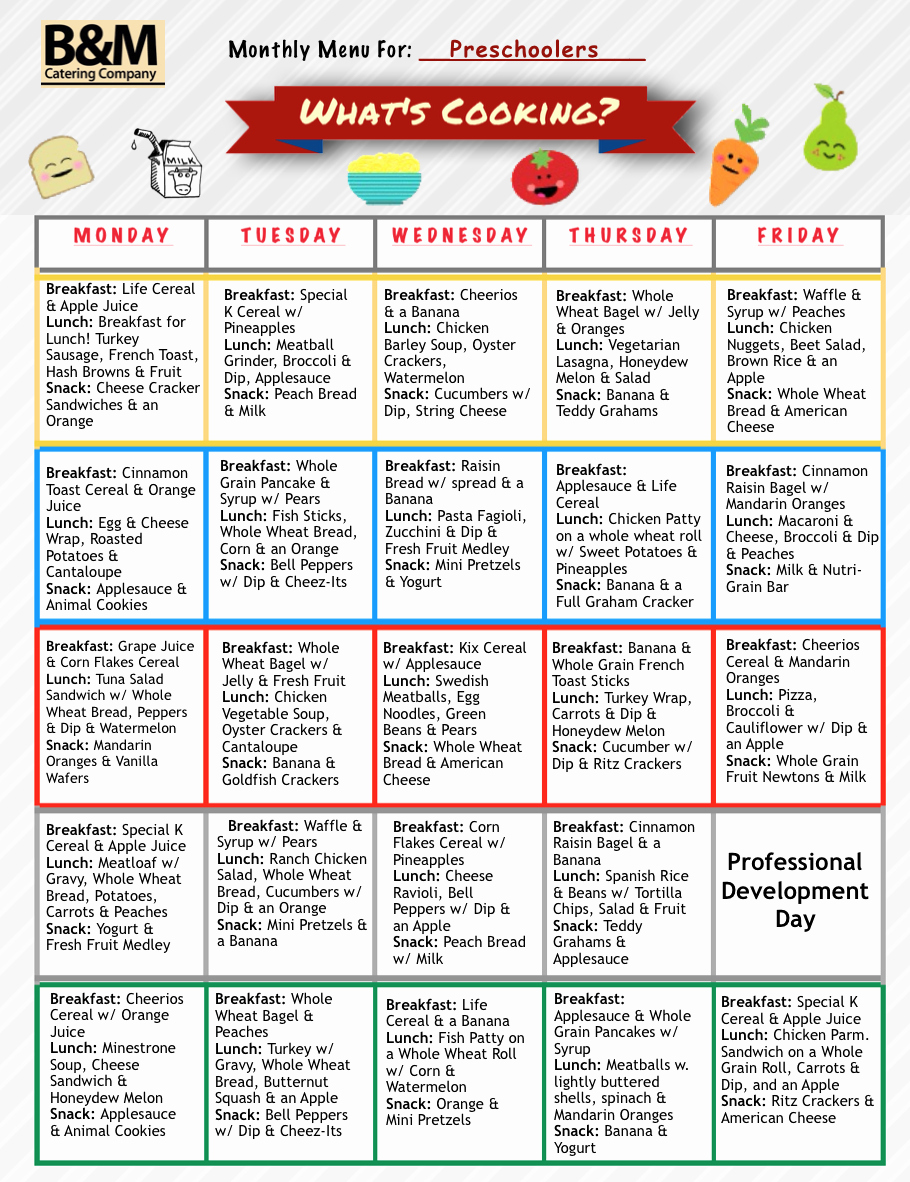 School Lunch Menu Template Unique Childcare Meals