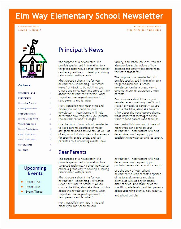 School Newsletter Template Free Awesome Free 6 Editable Primary Classroom School Newsletter