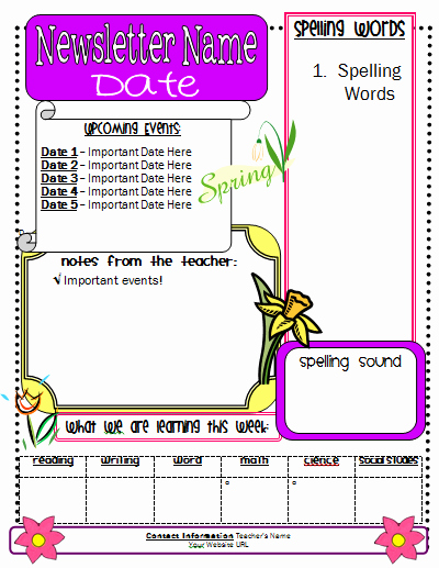 School Newsletter Template Free Awesome Pin by Melissa Ramirez On Any Grade