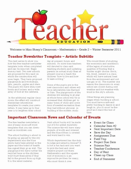 School Newsletter Template Free Best Of Free Newsletter Templates for Teaches and School