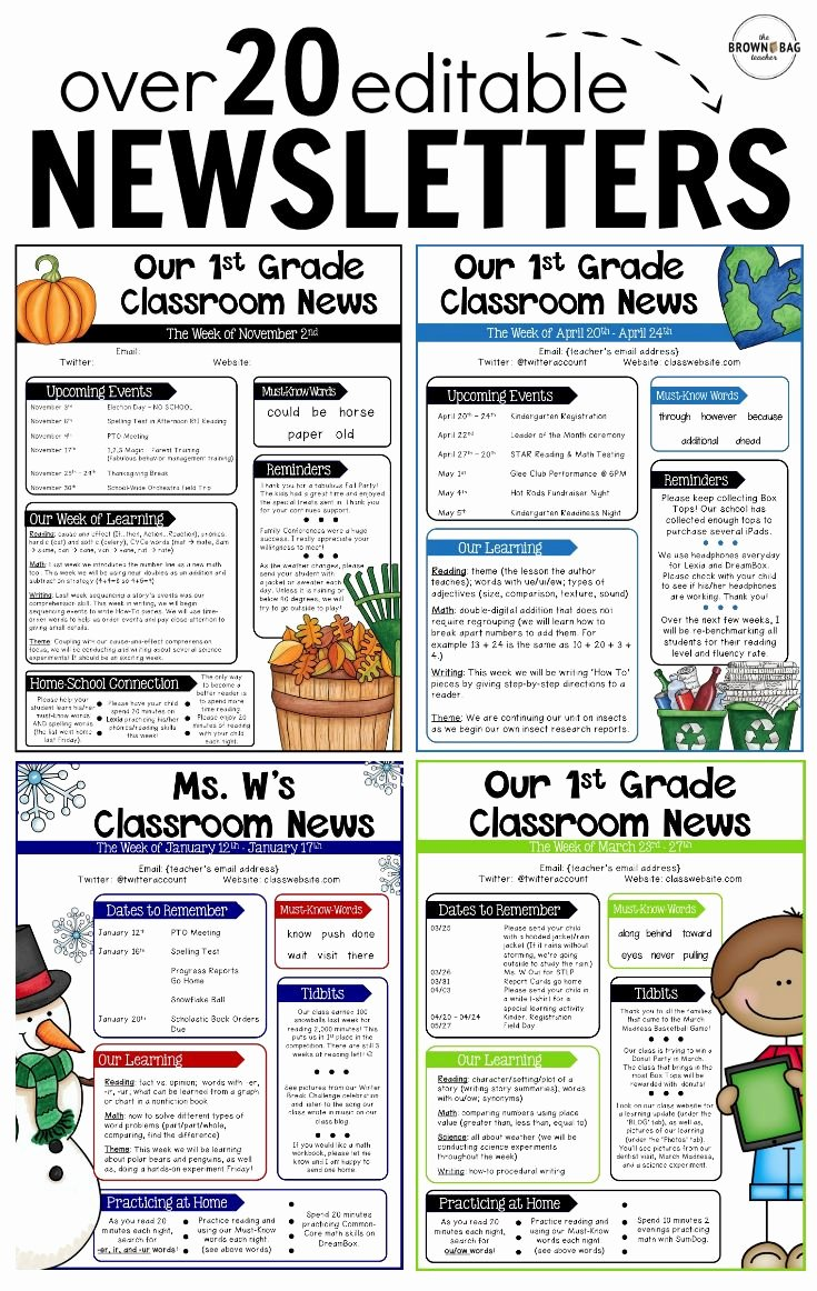 School Newsletter Template Free Elegant 25 Best Ideas About Classroom themes On Pinterest