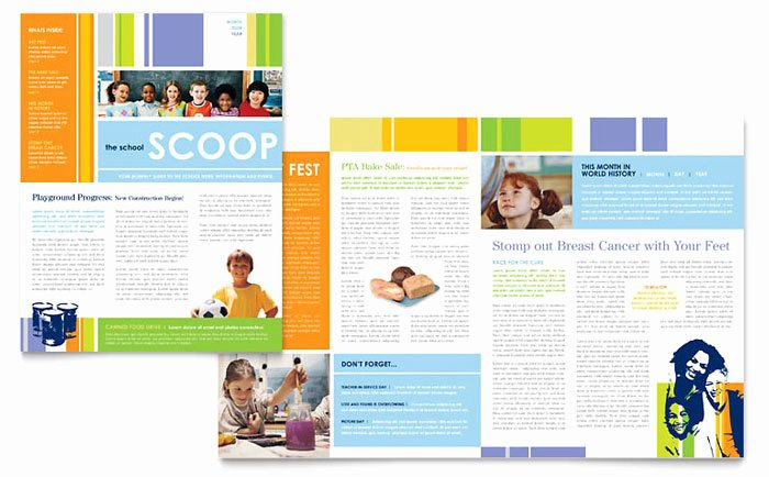 School Newsletter Template Free Inspirational Learning Center & Elementary School Newsletter Template Design
