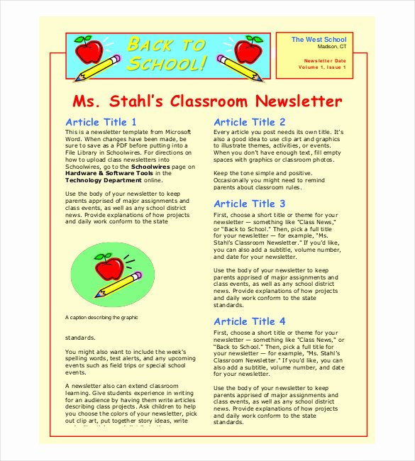 School Newsletter Template Free Lovely Classroom Newsletter Template – 9 Free Word Pdf