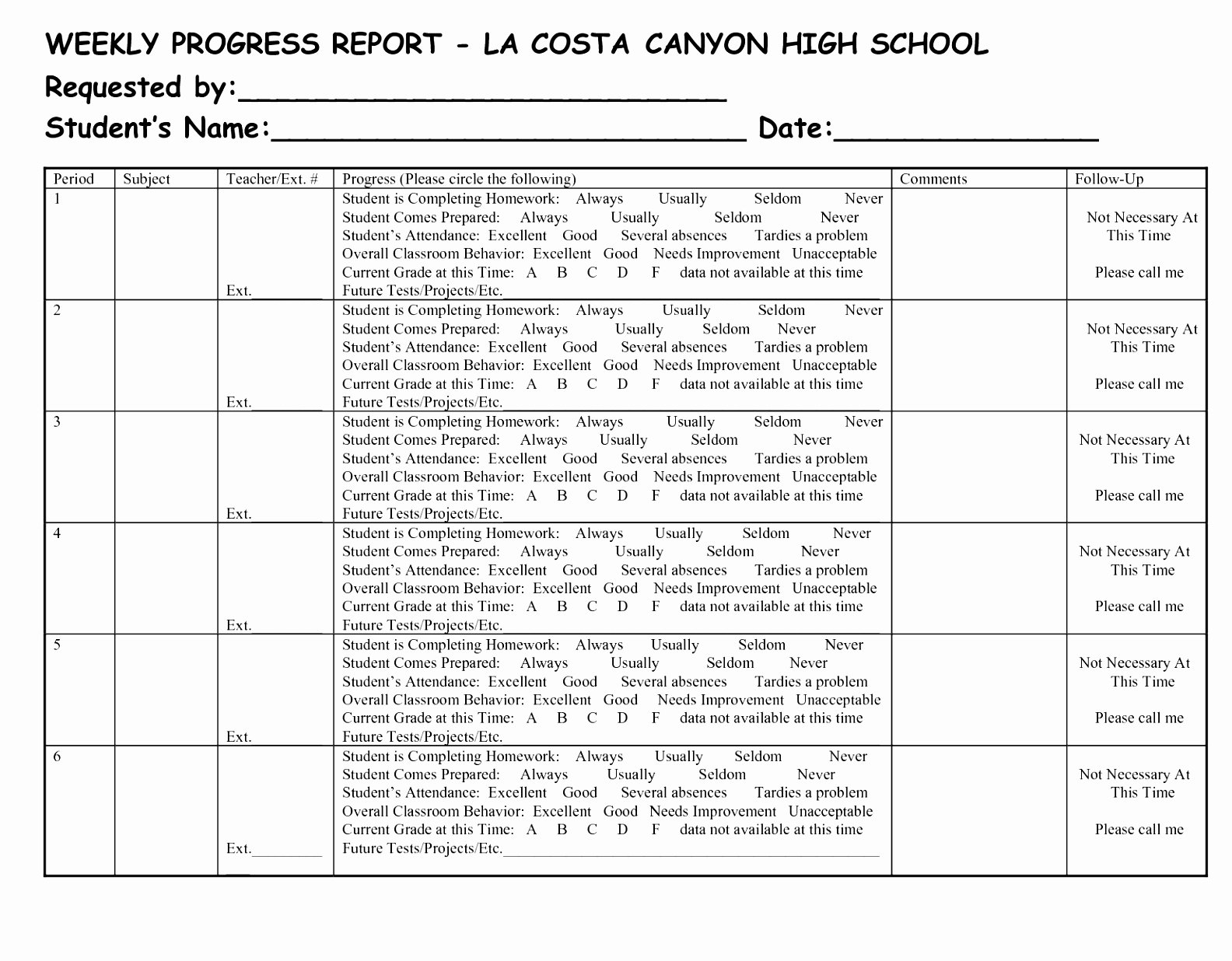 School Progress Report Template Best Of 96 Weekly Progress Reports Elementary Weekly Progress