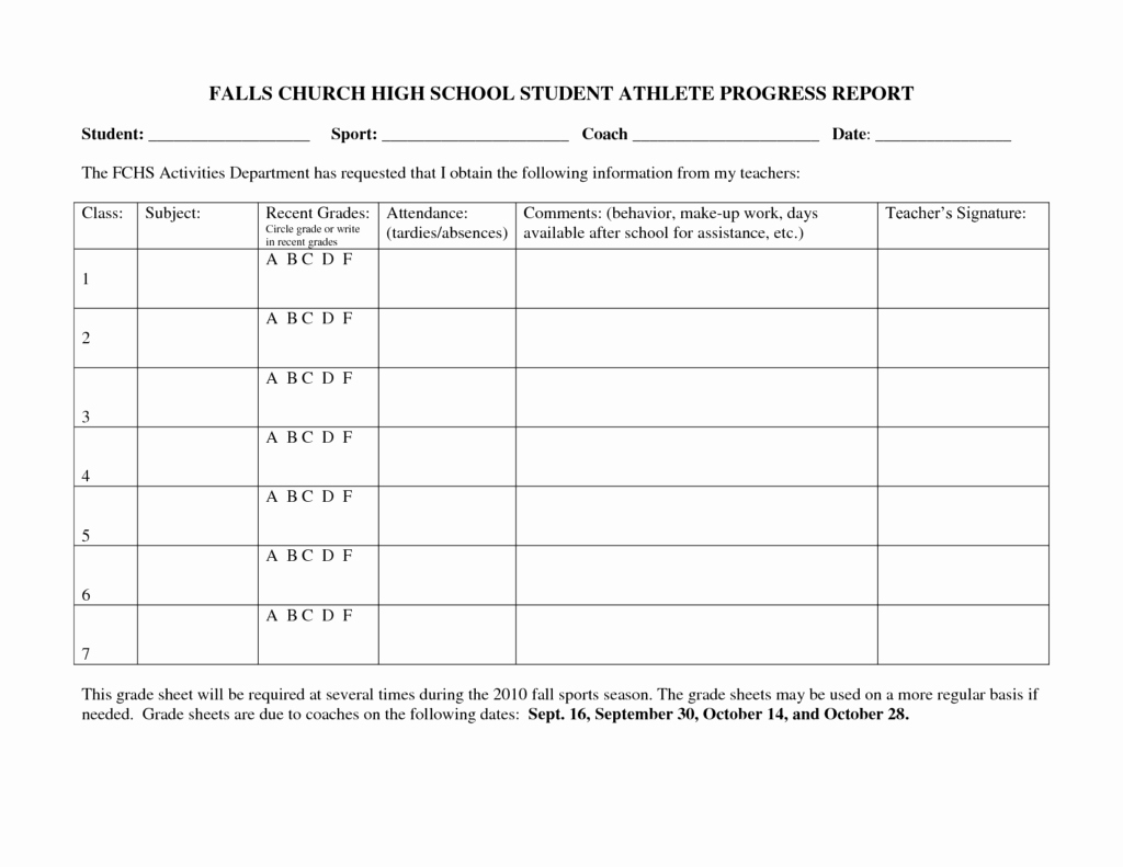 School Progress Report Template Elegant Falls Church High School Student athlete Progress Report