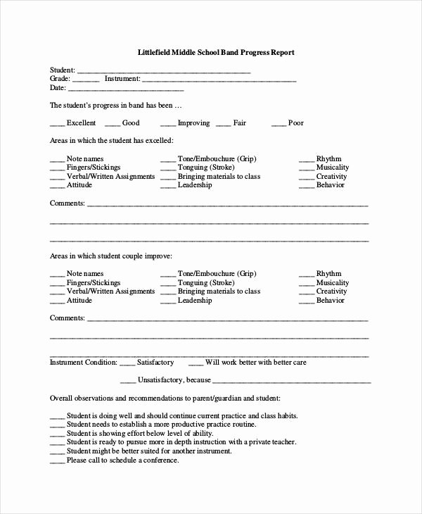 School Progress Report Template Elegant Progress Report Template 55 Free Pdf Ms Word Google