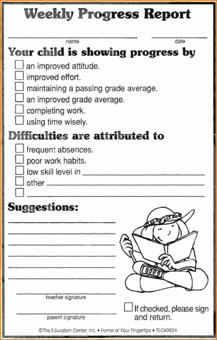 School Progress Report Template Inspirational 12 Weekly Progress Report Template