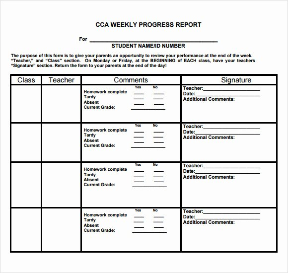 School Progress Report Template Inspirational 13 Sample Weekly Progress Reports