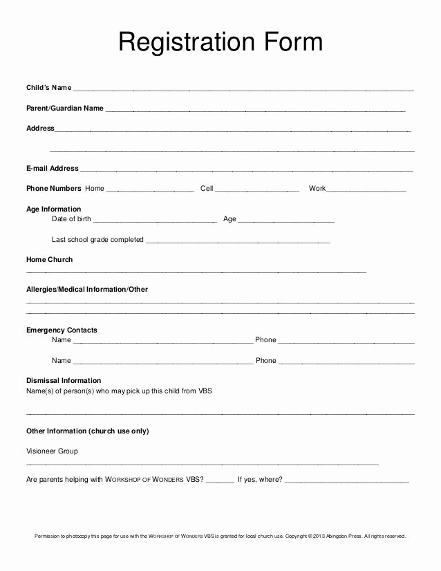 School Registration form Template Awesome Registration form Child's Name