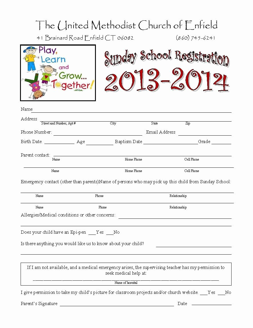 School Registration form Template Awesome Sunday School Registration form Biz Card