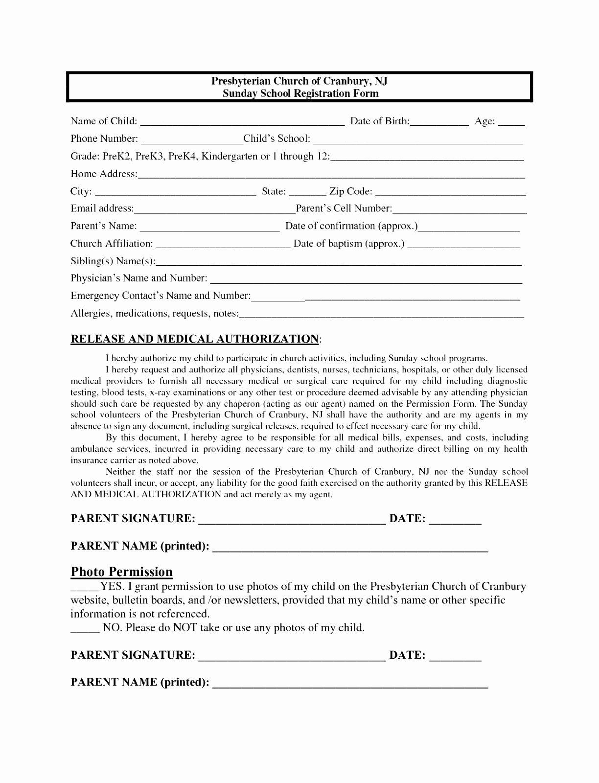 School Registration form Template Elegant 7 Sunday School Registration form Template Cutei