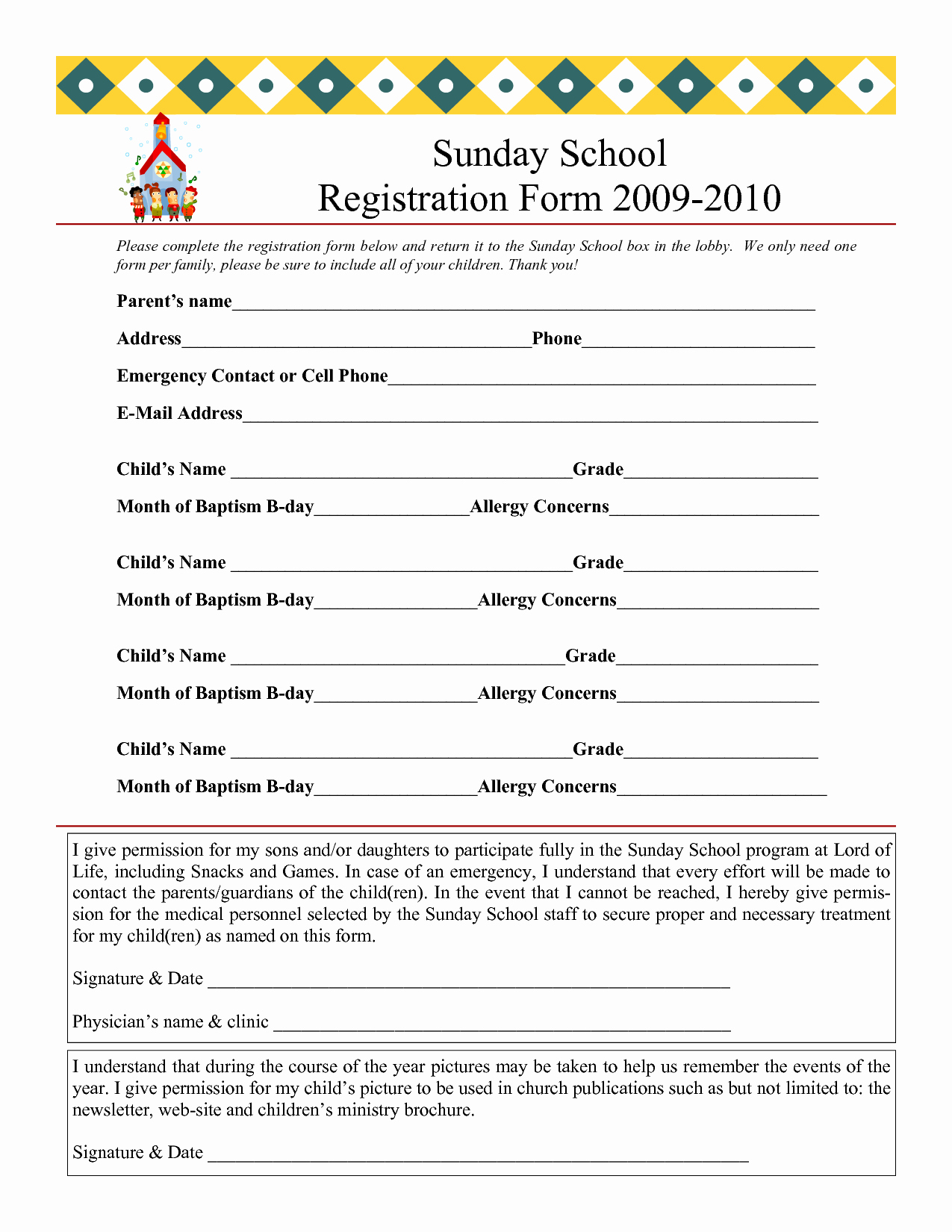 School Registration form Template Elegant Sunday School Registration form 2009 2010