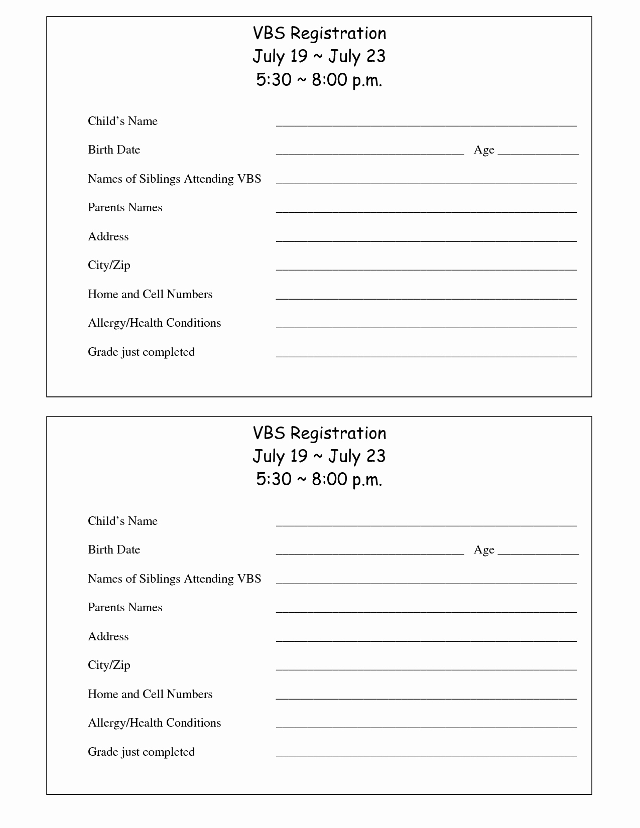 School Registration form Template New Printable Vbs Registration form Template