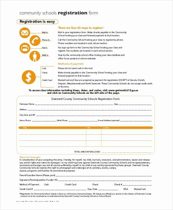 School Registration form Template Unique 8 Sample Registration forms – Pdf Word