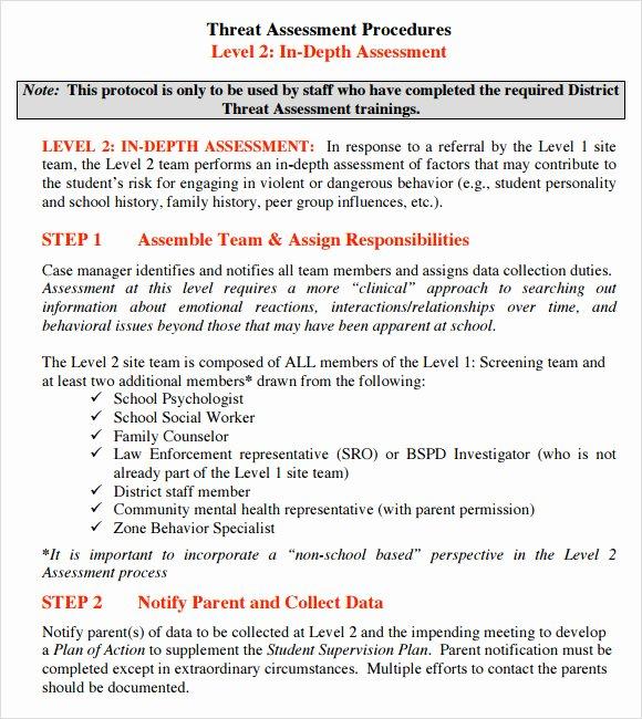 School Threat assessment Template Inspirational 10 Sample Threat assessments