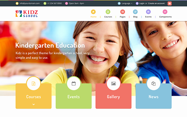 School Web Site Template Awesome Kidz Multipurpose Children Kids theme