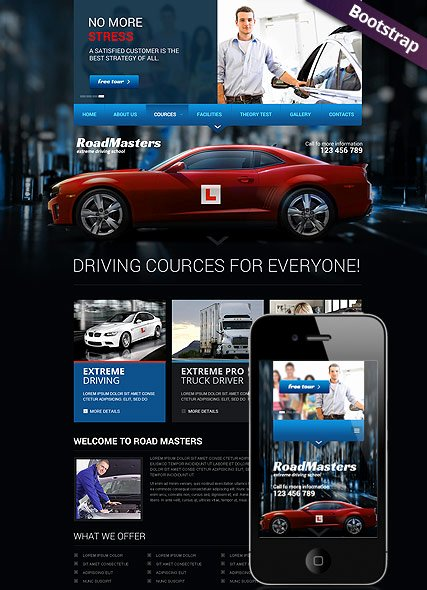 School Web Site Template Elegant Driving School Bootstrap Template Id From