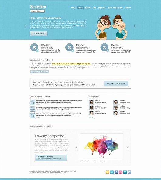 School Web Site Template Lovely Primary School Website theme Psd