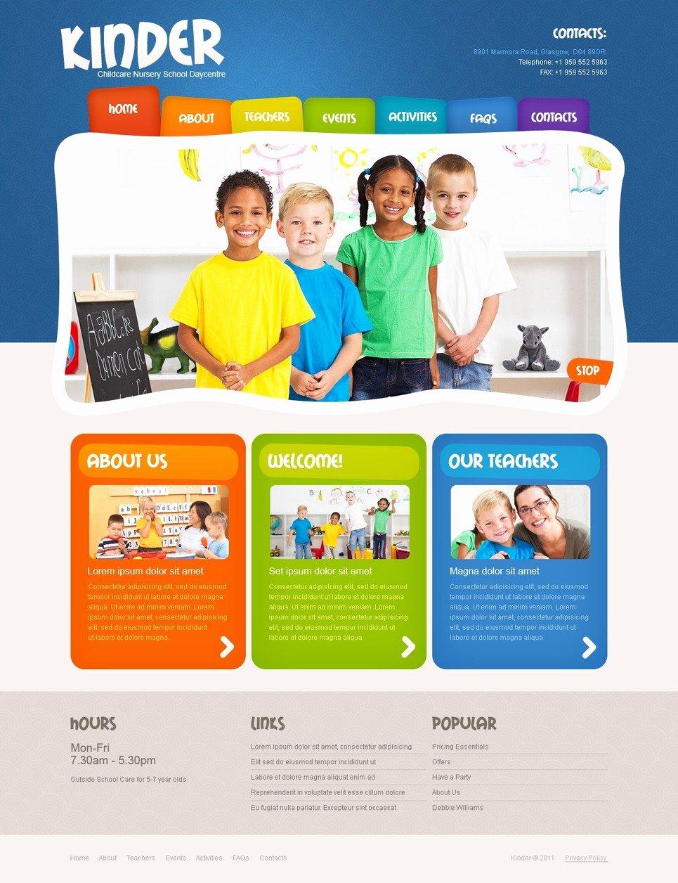 School Web Site Template Luxury Kids Center Psd Template